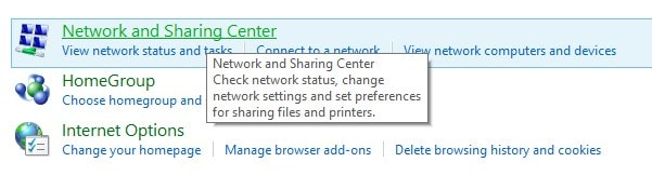 Network and Sharing Center Option in Control Panel